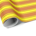 [ Thumbnail: Chocolate and Yellow Colored Lines Pattern Wrapping Paper ]