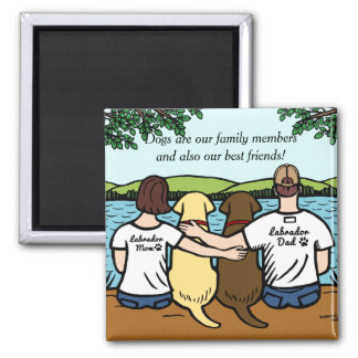 Chocolate and Yellow Labradors Parents 2 Inch Square Magnet