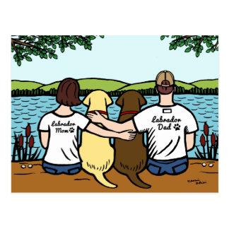 Chocolate and Yellow Labradors Parents Postcard