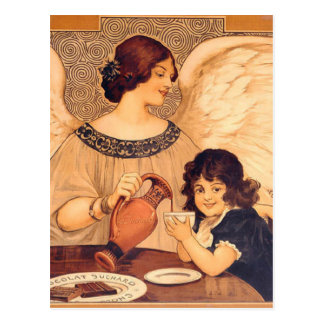 Chocolate Angel Vintage French Candy Poster Post Card