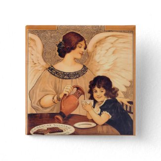 Chocolate Angel Vintage Pinback Button