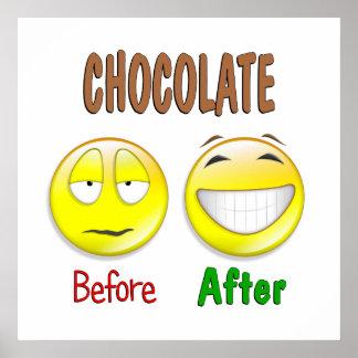Chocolate antes después impresiones
