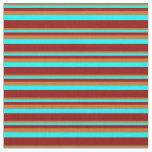 [ Thumbnail: Chocolate, Aqua, and Dark Red Colored Lines Fabric ]