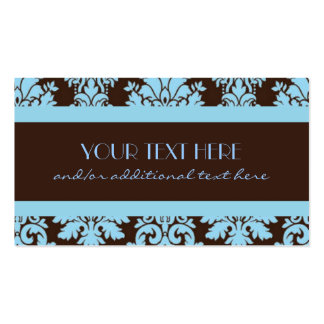 Chocolate & Baby Blue Damask Double-Sided Standard Business Cards (Pack Of 100)