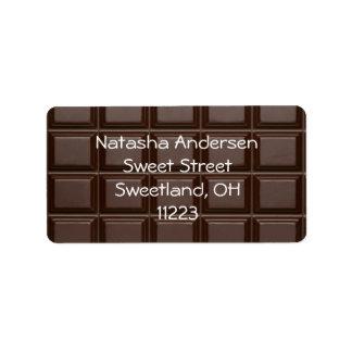 Chocolate Bar Address Gift Label