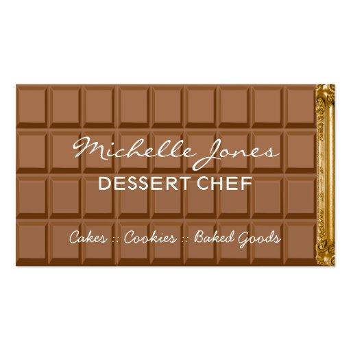 Chocolate bar dessert chef business card
