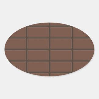 Chocolate Bar Pieces Oval Sticker