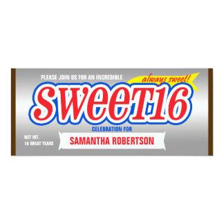 "Chocolate Bar Sweet Sixteen Party Invitation 4"" X 9.25"" Invitation Card"