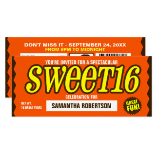 Chocolate Bar Sweet Sixteen Party Invitation