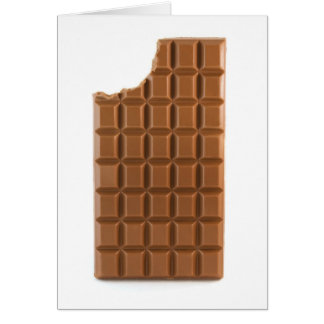 Chocolate bar with a missing bite greeting card
