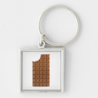 Chocolate bar with a missing bite keychain