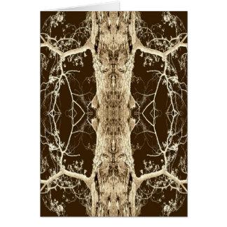 Chocolate Bark Abstract Faces Tree Art Photo Blank Card