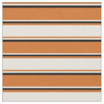 [ Thumbnail: Chocolate, Beige & Black Colored Stripes Fabric ]