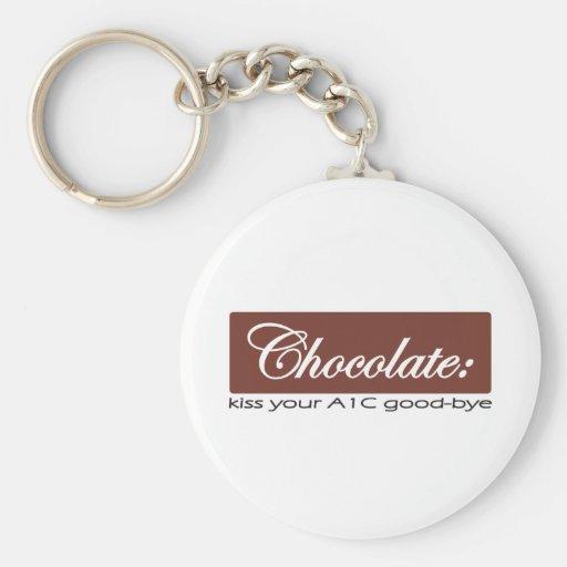 Chocolate: Bese su A1C adiós Llavero Redondo Tipo Pin