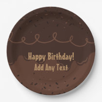Chocolate Birthday Cake Frosting Paper Plate
