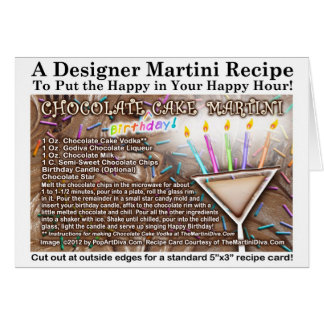 Chocolate Birthday Cake Martini Recipe Card
