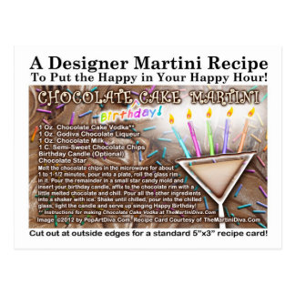 Chocolate Birthday Cake Martini Recipe Postcard