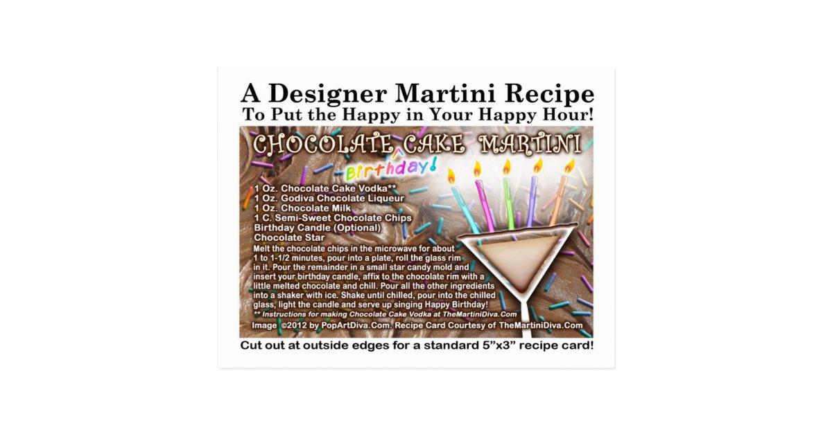 Chocolate Birthday Cake Martini Recipe Postcard Zazzle