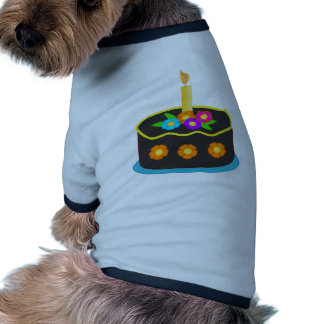 Chocolate Birthday Cake with Candle and Flowers Dog Shirt