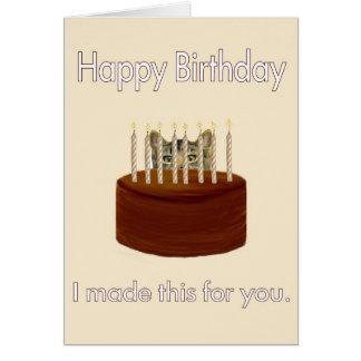 chocolate birthday kitty card
