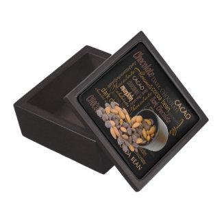 Chocolate Bits and Almonds Close Up Photograph Keepsake Box
