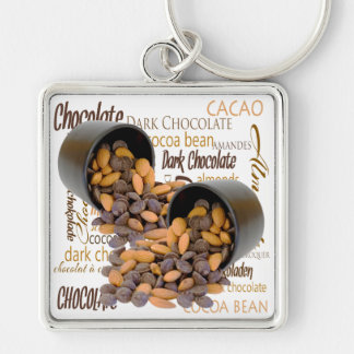 Chocolate Bits and Almonds Close Up Photograph Keychain