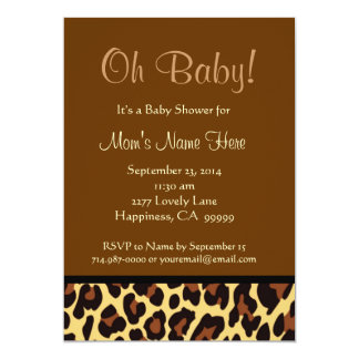 Chocolate Black Gold Leopard Baby Shower Personalized Announcement