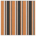 [ Thumbnail: Chocolate, Black & Lavender Colored Stripes Fabric ]