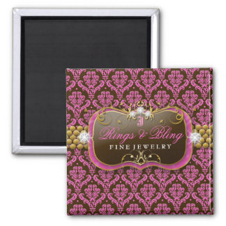 chocolate Bling de la frambuesa 311-Golden Imán Cuadrado