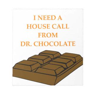 chocolate blocs de papel
