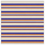 [ Thumbnail: Chocolate, Blue, and Tan Lines/Stripes Pattern Fabric ]