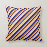 [ Thumbnail: Chocolate, Blue, and Tan Lines/Stripes Pattern Throw Pillow ]