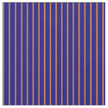 [ Thumbnail: Chocolate & Blue Colored Lined Pattern Fabric ]