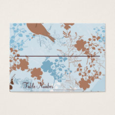 Chocolate & Blue Floral Wedding Table Number Cards at Zazzle