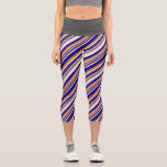 [ Thumbnail: Chocolate, Blue & Lavender Colored Stripes Leggings ]