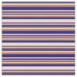 [ Thumbnail: Chocolate, Blue & Lavender Colored Stripes Fabric ]