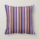 [ Thumbnail: Chocolate, Blue & Lavender Colored Stripes Pillow ]