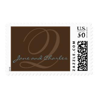 Chocolate & Blue Monogram Q • Bride & Groom Stamp
