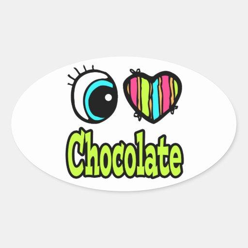 Chocolate brillante del amor del corazón I del ojo Pegatina Ovaladas Personalizadas