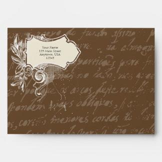 Chocolate Brown A7 Vintage Script Envelopes