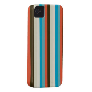 chocolate brown and aqua blue stripes iPhone 4 cover