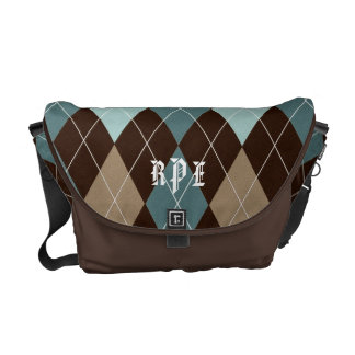 Chocolate Brown and Blue Argyle Monogrammed Tote Courier Bag