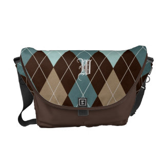 Chocolate Brown and Blue Argyle Monogrammed Tote Messenger Bag