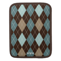 Chocolate Brown and Blue Argyle Pattern Monogram iPad Sleeve