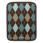 Chocolate Brown and Blue Argyle Pattern Monogram Sleeves For iPads