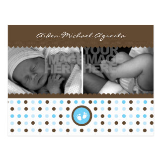 chocolate brown and blue birth announcement postcard