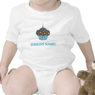 Chocolate Brown and Blue Birthday Cupcake Shirt shirt