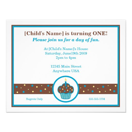 Chocolate Brown and Blue Cupcake Themed Invitation