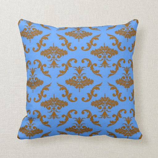 Blue And Brown Outdoor Throw Pillows : Chocolate Brown and Blue Damask Throw Pillows Zazzle