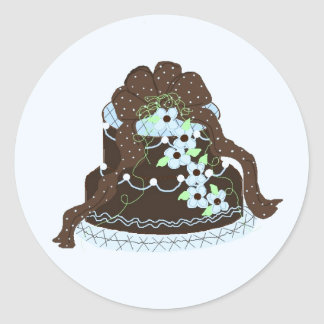 Chocolate Brown and Blue Fancy Cake Classic Round Sticker